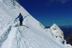 Me traversing a narrow section on Weissmies, Swiss Alps