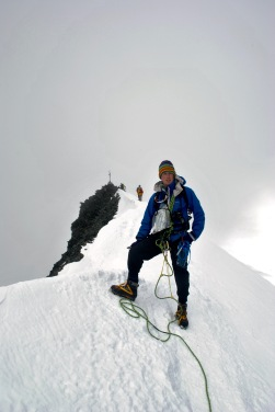 Adam on the summit ridge of Allalinhorn, Swiss Alps