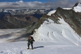 Me utterly breathless on the summit slope of Allalinhorn, Swiss Alps